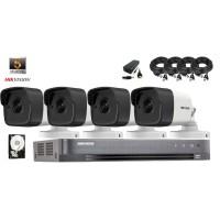 Kit complet supraveghere video Hikvision 4 camere 5MP IR 40M