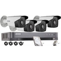 Kit complet profesional 4 camere supraveghere exterior 5MP TURBOHD HIKVISION 40 m IR