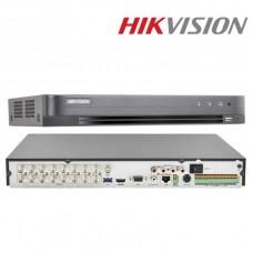 DVR 16 canale, 5 Megapixeli, 2xSATA, H265+, 16 Audio, Hikvision DS-7216HUHI-K2/16A