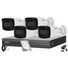 Kit supraveghere video DAHUA 4 camere FULL HD,Microfon Incorporat in camera, 1080P, IR 80m, HDD 500 GB