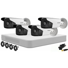 Kit supraveghere video Hikvision 4 camere FULLHD 1080p + accesorii instalare