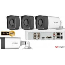 Sistem Supraveghere Hikvision  4 Camere de exterior Turbo HD 720p 1MP, IR 40M
