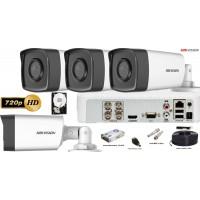 Kit complet supraveghere Hikvision 4 camere de exterior HD 720p,IR 40m