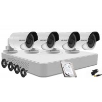 HIKVISION Kit supraveghere video complet , 4 camere HD,IR 20M