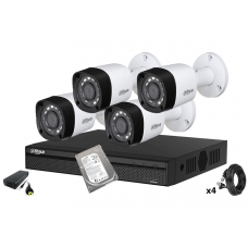 Kit supraveghere DAHUA 4 camere Full HD 1080P, IR 20m, HDD 500 GB