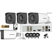 Kit complet supraveghere video HIKVISION 4 Camere FULLHD, 1080P, IR 40m, HDD 500GB