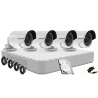 Kit supraveghere HIKVISION  4 camere 720P,IR 20M, HDD 250 GB