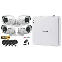 Kit complet supraveghere video HIKVISION  4 camere 720P, IR 20M, HDD 250 GB
