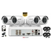 Kit complet supraveghere video HIKVISION 4 camere FULLHD 1080p, IR20m, HDD 500 GB