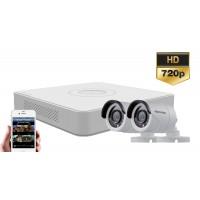 Sistem supraveghere Hikvision 2 camere Turbo HD 720p, IR20m