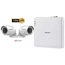 Sistem supraveghere Hikvision 2 camere de exterior Turbo HD 1MP 720p, IR 20m