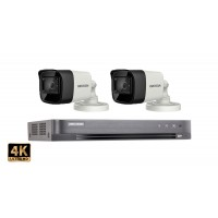 Sistem supraveghere video Hikvision 2 camere de exterior 8MP(4K),IR 60M