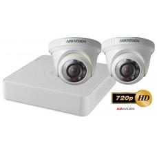 Sistem supraveghere video Hikvision 2 camere TurboHD 720P de interior, IR 20M