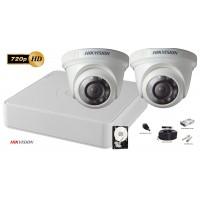 Kit complet supraveghere video Hikvision 2 camere de interior TurboHD 720p, IR 20M