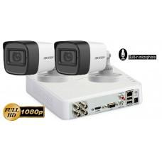 Sistem supraveghere Hikvision 2 camere FullHD 1080p, IR30m, microfon incorporat