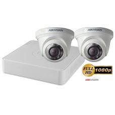 Sistem supraveghere video 2 camere de interior Hikvision 2MP FullHD, IR 20M