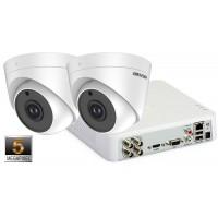 Sistem supraveghere video 2 camere de interior Hikvision 5MP(2K+), IR 20M
