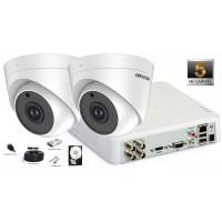 Kit complet supraveghere video 2 camere de interior Hikvision 5MP(2K+), IR 20M
