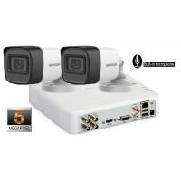 Sistem supraveghere Hikvision 2 camere 5 Megapixeli, IR30m, microfon incorporat
