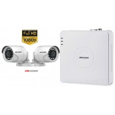 Sistem supraveghere video Hikvision 2 camere de exterior 2MP 1080P, FULL HD, IR 20m