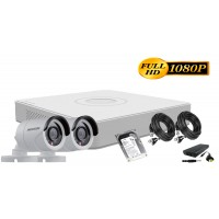 Kit supraveghere Hikvision 2 camere 1080P, IR20, HDD 250GB