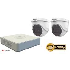 Sistem supraveghere video 2 camere  de interior FullHD 2MP Hikvision, IR 30M, microfon incorporat