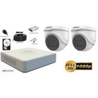 Kit complet supraveghere video 2 camere de interior FullHD Hikvision, IR 30M, microfon incorporat