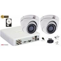 Kit complet supraveghere video Hikvision 2 camere Ultra Low-Light, 2 MP Full HD, IR 30M