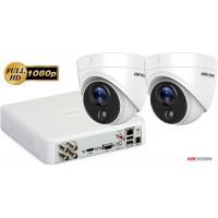Sistem supraveghere video Hikvision 2 camere Ultra Low-Light PIR Turret 2 MP, IR 20 m