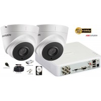 Kit complet supraveghere Hikvision 2 camere Ultra Low-Light 2MP Full HD 1080P, IR 60 m
