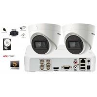 Kit complet supraveghere video 2 camere de interior Hikvision 5MP(2K+) Ultra Low Light, IR 30M