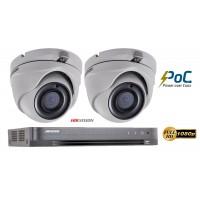 Sistem supraveghere video Hikvision 2 camere de interior PoC 2MP Full HD, IR 20m