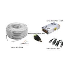 Kit accesorii instalare pt 2 camere, 30m cablu UTP