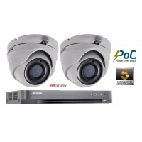 Sistem supraveghere video Hikvision 2 camere de interior PoC 5MP (2K+), IR 20m