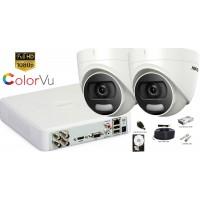 Kit complet supraveghere Hikvision 2 camere de interior ColorVu Hibrid, 2MP Full HD 1080p, IR 20m