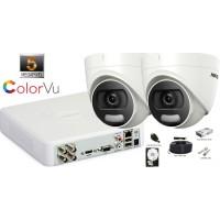 Kit complet supraveghere Hikvision 2 camere de interior ColorVu AnalogHD 5MP(2K+), IR 20 m