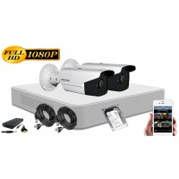 Kit supraveghere Hikvision 2 camere 1080P, IR40, HDD 500GB
