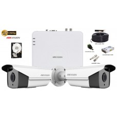 Kit complet supraveghere Hikvision 2 camere 1080p Full HD,IR 40m
