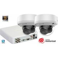 Sistem supraveghere video 2 camere Hikvision 5MP(2K+), lentila varifocala 2.7-15.5mm, Zoom Motorizat, IR 40M