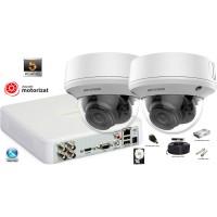 Kit complet supraveghere video 2 camere Hikvision 5MP(2K+), Zoom Motorizat, IR 40M