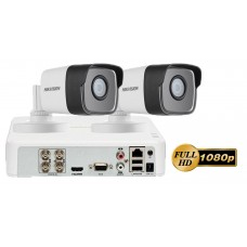 Sistem supraveghere video 2 camere Hikvision 2MP FullHD Ultra Low-Light, IR 80M