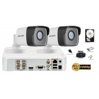 Kit complet supraveghere video 2 camere Hikvision Ultra Low-Light 2MP FullHD, IR 80M