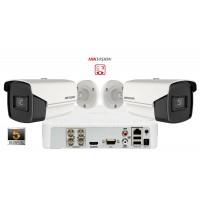 Sistem supraveghere video Hikvision 2 camere Ultra Low-Light, 5MP(2K+),IR 60m