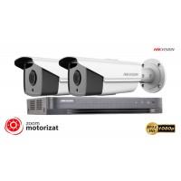 Sistem supraveghere video Hikvision 2 camere de exterior Turbo HD, Ultra Low-Light 2MP, lentila varifocala 2.8 - 12 mm, zoom motorizat, POC, IR 40m