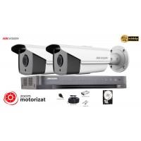 Kit complet supraveghere video Hikvision 2 camere de exterior Turbo HD,Ultra Low-Light 2MP,Lentila Varifocala Motorizata, POC, IR 40m