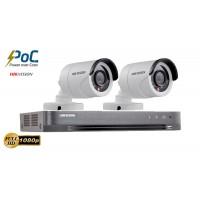 Sistem supraveghere Hikvision 2 camere de exterior PoC 2MP Full HD 1080p, IR 20m