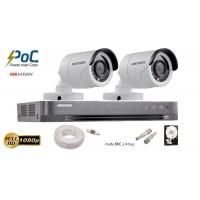 Kit complet supraveghere Hikvision 2 camere de exterior POC turbo HD,2MP 1080p,IR 20m