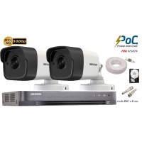 Kit complet supraveghere Hikvision 2 camere de exterior POC, Ultra Low-Light, 2MP Full HD 1080p, IR 20m