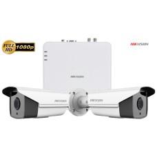 Sistem supraveghere video Hikvision 2 camere de exterior Full HD 1080P 2MP, IR 80m