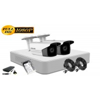 Kit supraveghere Hikvision 2 camere 1080P, IR80, HDD 500GB